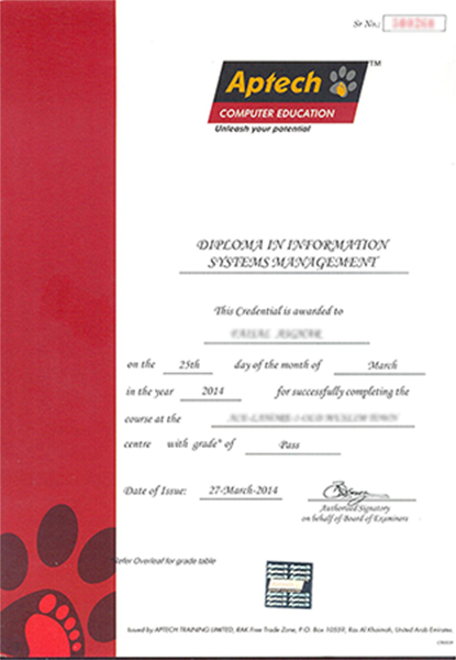 Transcript aptech computer education certificates yadclub Image collections
