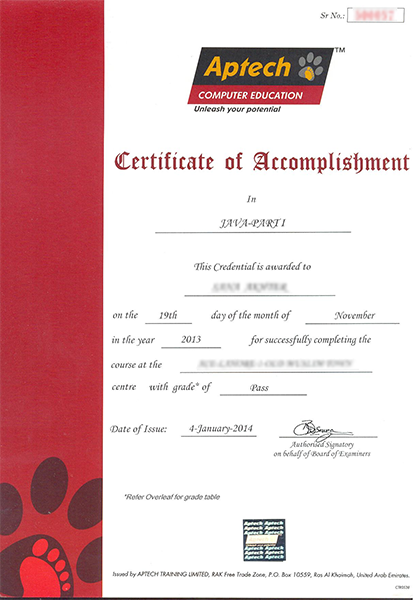 Transcript Aptech Computer Education